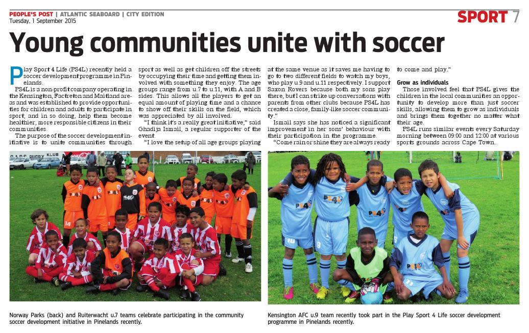 Young communities unite with soccer