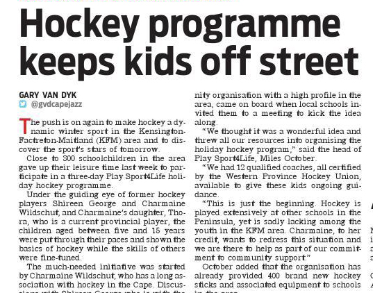 Hockey programme keeps kids off street